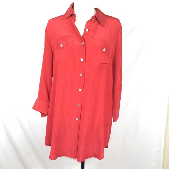 Well known Soft Surroundings Button Down Red Silk Blouse L | Poshmark IY96